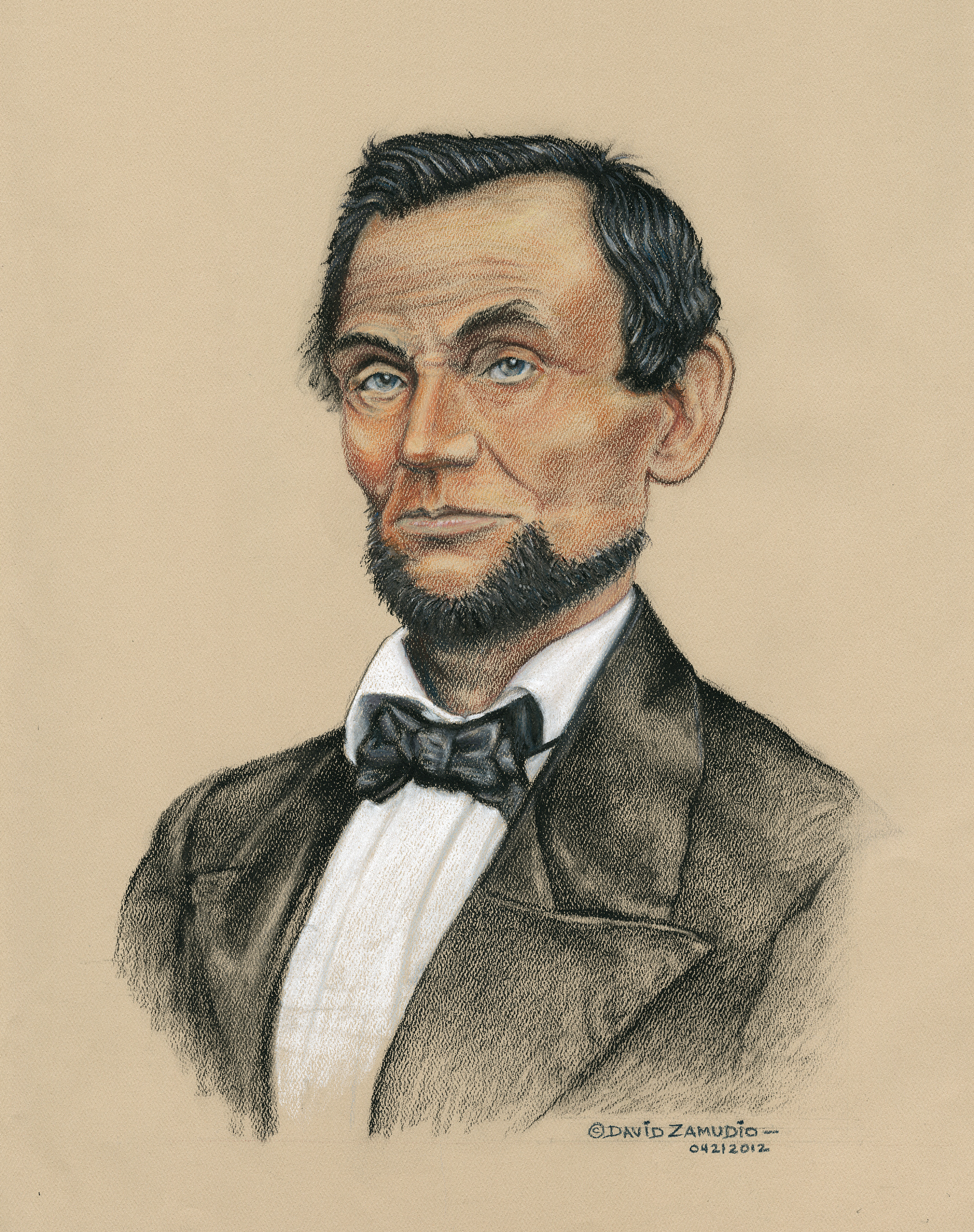 Pastel rendition of the famous US president Abe Lincoln
