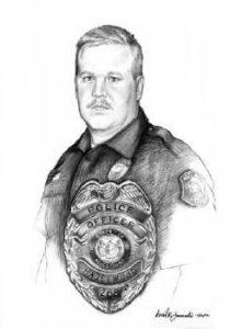 """Portrait of policeman, charcoal, 18""""x24"""" by Zamudio"""