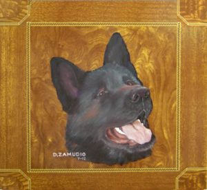 Akita pet portrait Zamudio Ceramic Tile