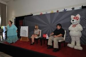 Storyteller Karen Young, Actress Bridgit Mendler,Illustrator artist  David-Zamudio, Target Mascot Bullseye.jpg