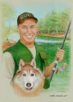 """Fisherman Portrait original,18""""x24"""" pastels, artist David R. Zamudio"""
