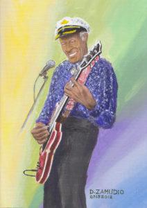 Portrait, Chuck Berry, Acrylic by David Zamudio