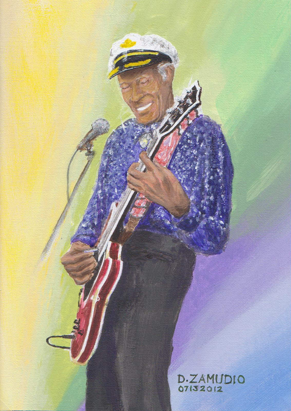 Chuck Berry plays guitar on stage, Rock n Roll icon, Gibson electric guitar, pastel colors, Blue berry hill restaurant, University City, MO, entertainer, by artist David Zamudio