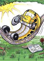 Illustration -bus on hammock -by David Zamudio