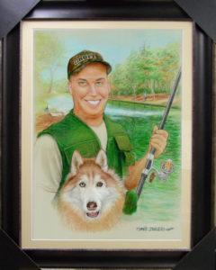 Portrait 'Fisherman' pastels on paper, David Zamudio