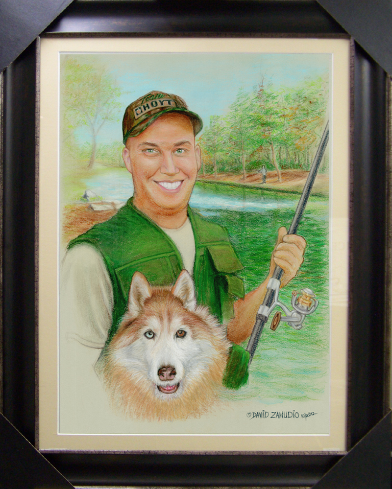 Portrait of a fisherman in pastel by David Zamudio