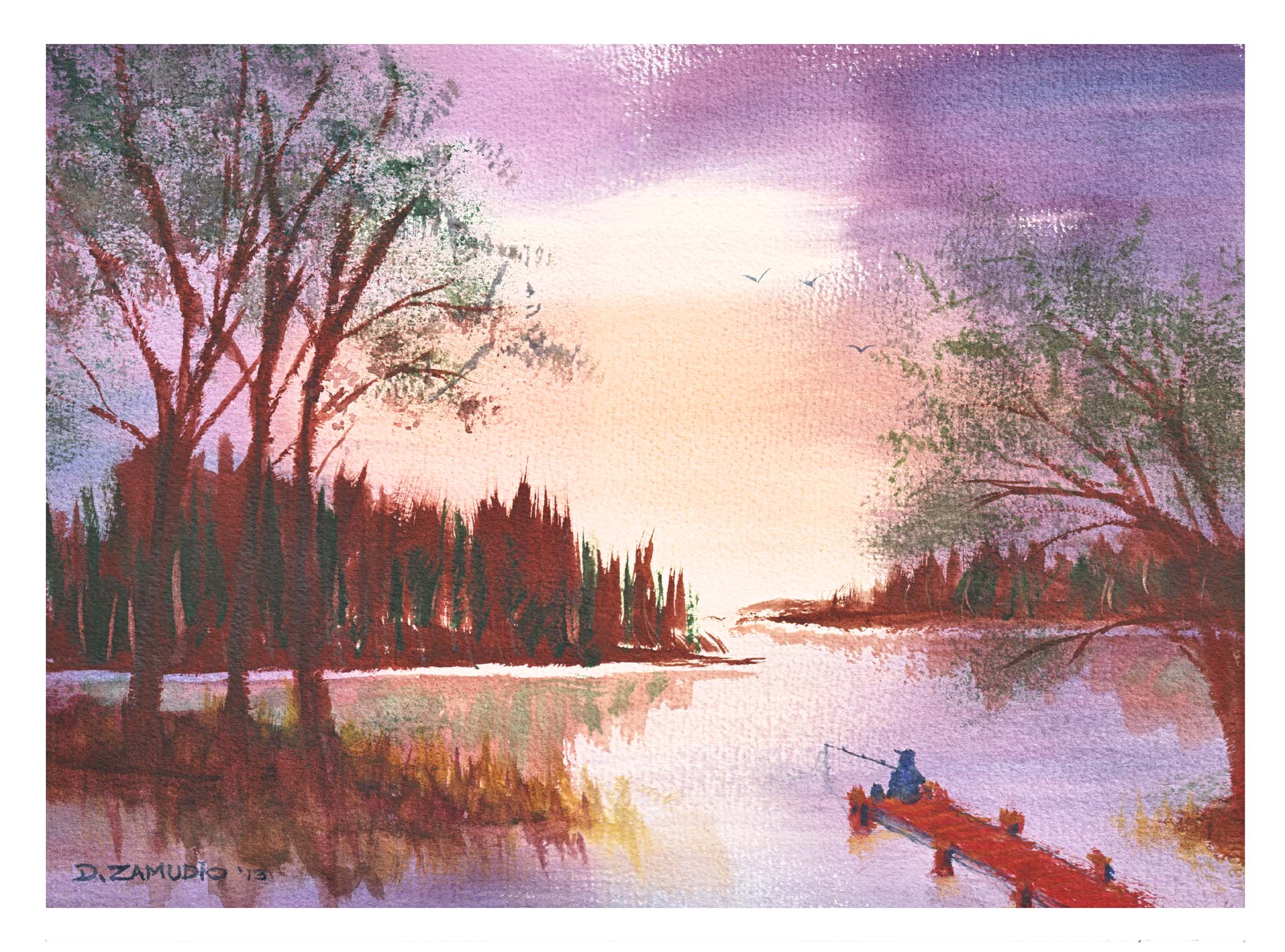 "Sunset fishing off the dock, 11""x15"", watercolor, Zamudio"