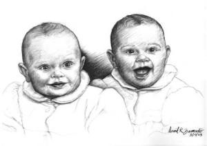 """Portrait twin girls, charcoal, 18"""" x24"""" by David Zamudio"""