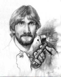 Portrait, pena an ink, 'The Machinist' by David Zamudio