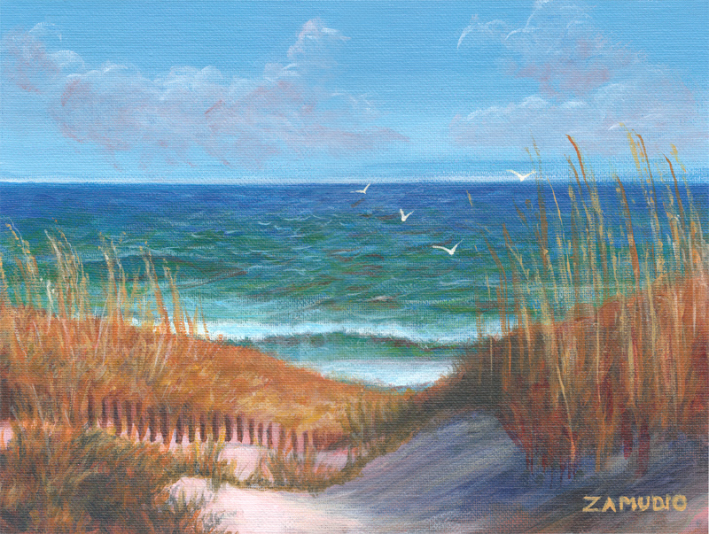 Wide angle blue green seascape painting with sand dunes and grassy vegetation. Blue sky with distant clouds and soaring seagulls above.