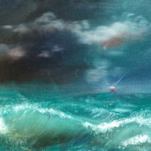 "Storms at sea, 9""x12"" oil on canvas original by David Zamudio"