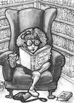 Cartoon girl reading book by Zamudio