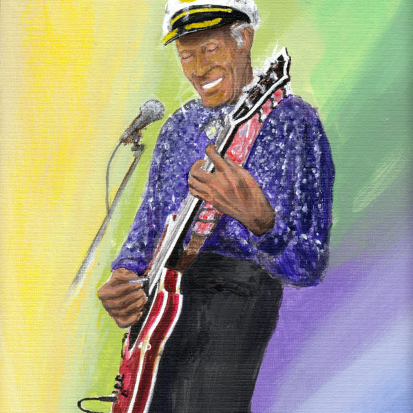 """Acrylic on canvas original 9""""x12"""" painting of the late Chuck Berry by David Zamudio"""