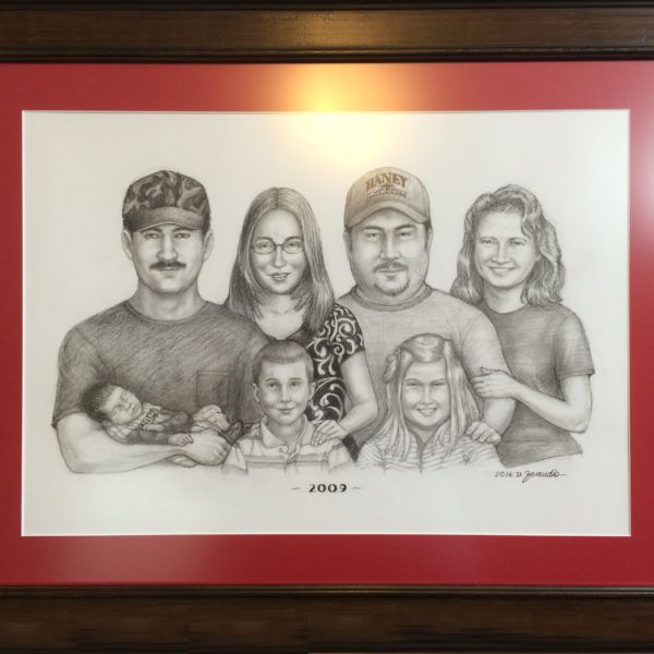 Portrait of young family, charcoal, 18x24, by David Zamudio