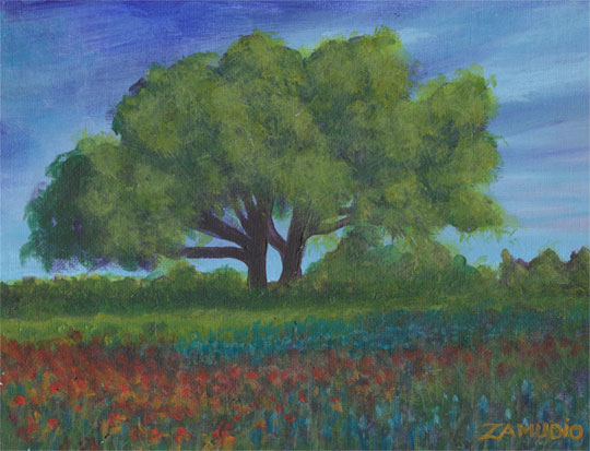 Field of flowers Acrylic 9x12