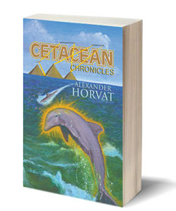 "Seascape illustration painting by Zamudio for book cover ""Cetacean Chronicles"""