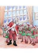 Santa meets with elves illustration