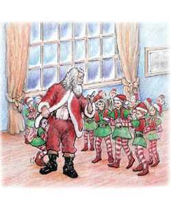 Children's Book Illustration: Santa meets with elves, David Zamudio