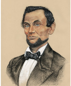 Portrait, Lincoln 1860, pastels David Zamudio