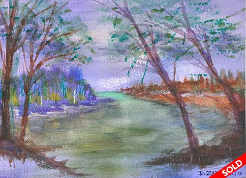 """Landscape, lakefront, watercolor 15""""X11"""