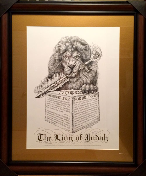 Lion of Judah Print by David Zamudio in Wood Frame and Mat