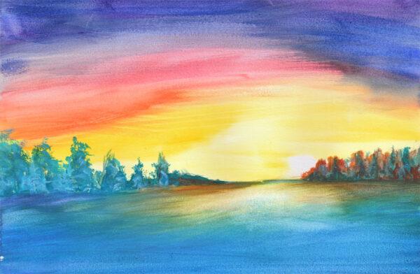 Majenta sunset watercolor 11x17 Zamudio