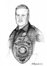 portrait of patrolman with badge. Charcoal, 18 x 24 by David Zamudio