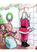 Children's Book illustration Santa at window David Zamudio