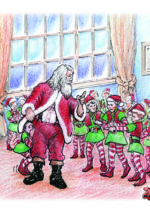 Children's Book illustration Santa meets elves by David Zamudio