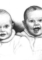 Portrait of Twin babies in charcoal,18x24, by David Zamudio