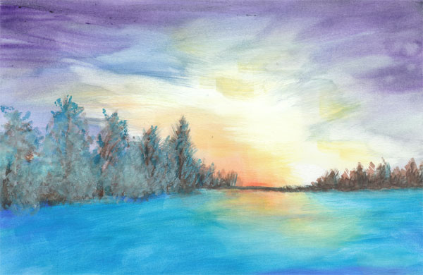 Winter watercolor painting by David Zamudio 11.5-x17